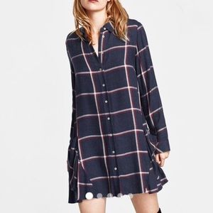Zara Plaid Pocket Shirt Dress